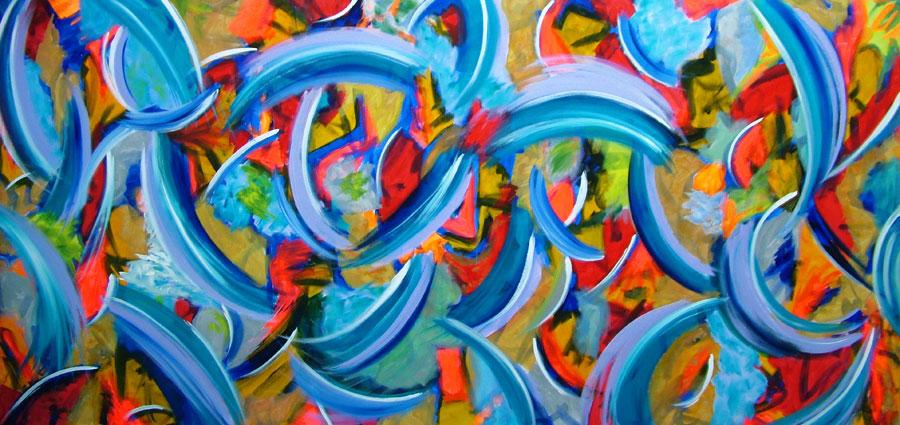 Modern art canvas painting called Crankenstein by Seb Farrington. Large modern art Canvas painting by Seb Farrington artistThe Drip